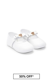 Versace Baby Girls White Leather Pre-Walkers