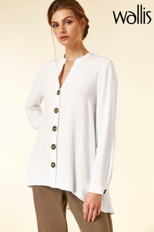 Wallis Linen Button Hi Low Shirt