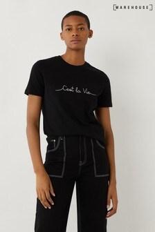 Warehouse Black C'est La Vie Slogan T-Shirt
