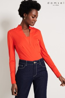Damsel In A Dress Orange Paige Military Top
