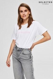 Selected Femme White Rosebloom Slogan T-Shirt