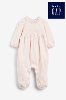 Gap Baby Pink Bear Embroidered Rompersuit