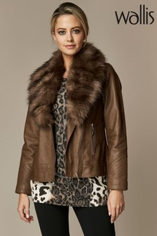 Wallis Petite Chocolate Faux Fur Biker Jacket