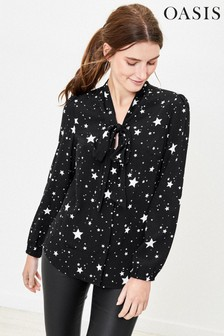 Oasis Black Star Pussy Bow Blouse