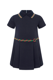 Baby Girls Navy Cotton Polo Dress