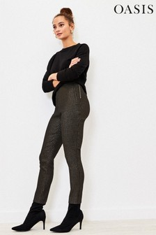 Oasis Black Sparkle Dogtooth Trousers