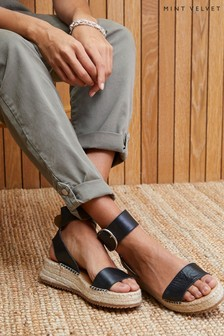 Mint Velvet Eloise Black Leather Sandals