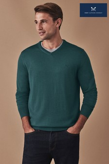 Crew Clothing Company Green Merino V-Neck Jumper