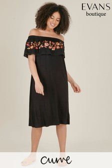 Evans Curve Black Embroidered Gypsy Dress
