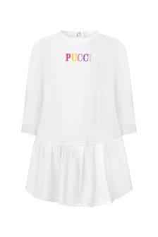 Emilio Pucci Baby Girls White Cotton Dress