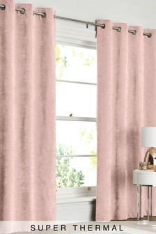 Soft Velour Eyelet Super Thermal Curtains