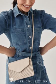 Leather Pleated Flap Across Body Bag