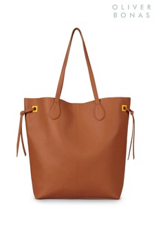 Oliver Bonas Brown Parker Knot Gather Tote Bag