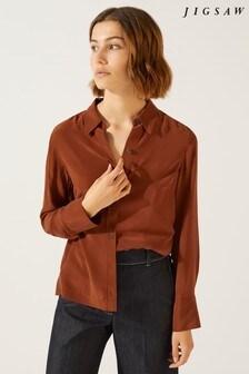 Jigsaw Brown Silk Shirt