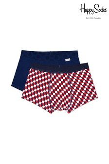 Happy Socks Red/Multi Mens Trunks Two Pack