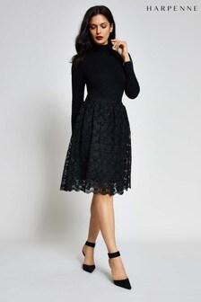 Harpenne Black Roll Neck Lace Skirt Midi Dress