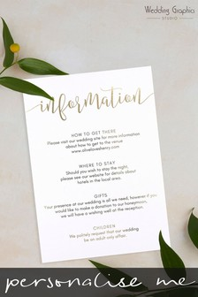 Personalised Script Information Card by Wedding Graphics