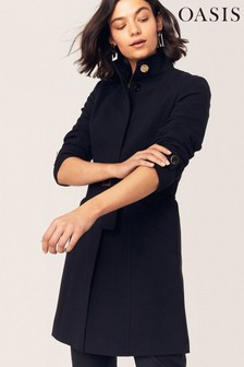 Oasis Black Funnel Neck Coat