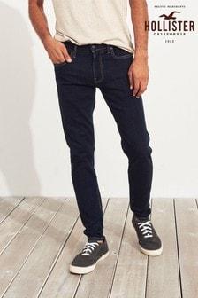 Hollister藍色泛白超窄管牛仔褲