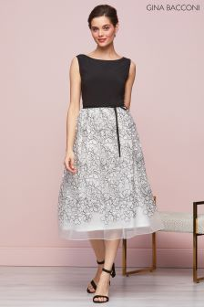 Gina Bacconi Black Maia Floral Embroidered Dress