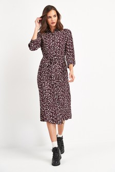Animal Printed Shirt Dress