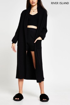 River Island Black Mix Stitch Maxi Cardi