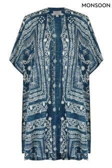 Monsoon Blue Deena Print Linen Blend Cardigan