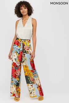 Monsoon Cream Oana Print Wide Leg Trouser