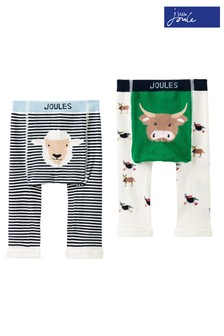 Joules Blue Lively Character Knit Leggings Two Pack