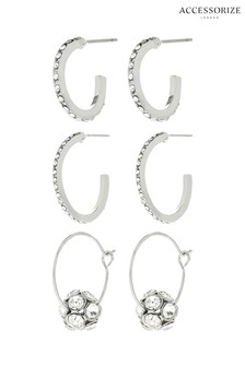 Accessorize 3 x Crystal Effect Hoop Earrings Pack