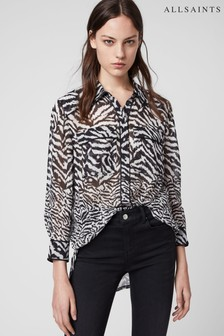 AllSaints Black White Esther Blouse