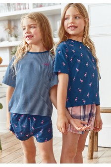 2 Pack Flamingo Woven/Jersey Short Pyjamas (3-16yrs)
