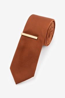 Twill Tie And Tie Clip Set