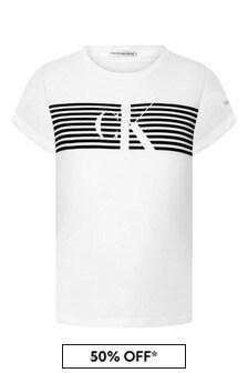 Calvin Klein Jeans Girls White Organic Cotton Striped Logo T-Shirt
