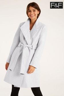 F&F Grey Glam Funnel Neck Coat