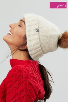 Joules Cream Snugwell Bouclé Hat With Pom