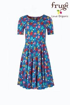 Frugi Blue Lotus Bloom Organic Cotton Skater Dress
