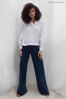 French Connection White Dana Cotton Voile Smock Top