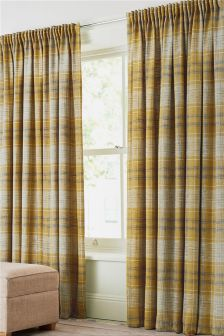 Astley Check Pencil Pleat Lined Curtains