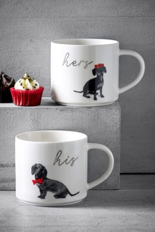 Set of 2 Stacking His and Hers Dog Mugs