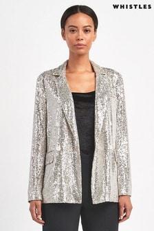 Whistles Silver Sequin Blazer