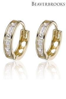 Beaverbrooks 9ct Gold Cubic Zirconia Hoop Earrings