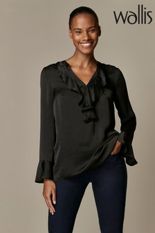Wallis Black Satin Ruffle Top
