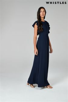 Whistles Navy Frill Sleeve Maxi Dress