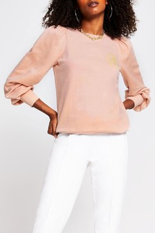 River Island Pink Bright Puff Sleeve Sign Off Sweat Top