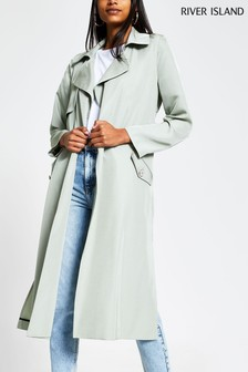 River Island Green Light Weight Duster Trench Coat