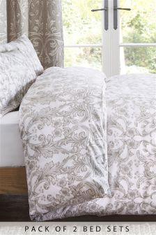 2 Pack Scroll Floral Bed Set