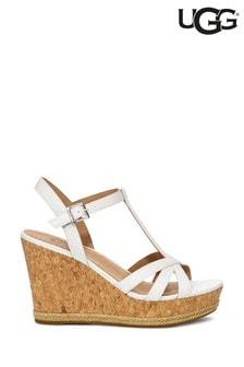 UGG® Melissa White Snake T-Bar Wedge Sandals