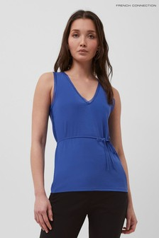 French Connection Blue Tifanee Lyocell Jersey V-Neck Tank Top