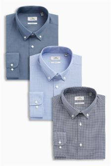Shirts With Button Down Collars Three Pack